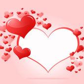 Rama streszczenie z czerwone serca — Zdjęcie stockowe