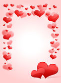 Abstract frame with red hearts — Stock Photo