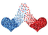 Red and blue heart connected — Stock Photo