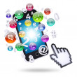 Smartphone and application icons — Stock Photo