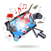 Tablet pc and multimedia objects — Stock Photo