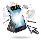Smartphone and office supplies — Stock Photo