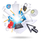便携式计算机和办公用品 — 图库照片