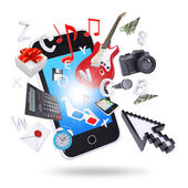 Smartphone and multimedia objects — Stock Photo