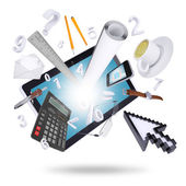 Tablet pc and office supplies — Stockfoto