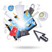 Tablet pc and office supplies — Stock Photo