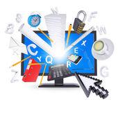 Monitor y útiles de oficina — Foto de Stock