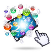 Tablet computer and application icons — Stock Photo