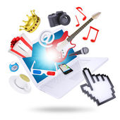 Laptop and multimedia objects — Stockfoto