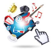 Tablet pc and multimedia objects — Stockfoto