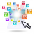 Laptop and application icons — Stock Photo #39525509