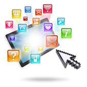 Tabletki ikony komputera i aplikacji — Zdjęcie stockowe