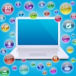 Stock Photo: Laptop and application icons