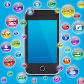 Smartphone and application icons — 图库照片