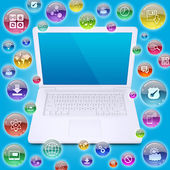Laptop and application icons — Stock Photo