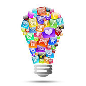 Lamp consisting of apps icons — Stock Photo