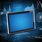 Tablet PC and the graphics in the background — Stock Photo