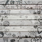 Various social icons on old wooden surface — Stock Photo