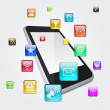 Stock Photo: Smartphone and application icons