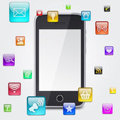 Smartphone and application icons — Stockfoto