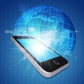 智能手机和全球 — 图库照片