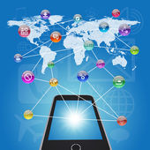 Smartphone, earth map and application icons — 图库照片