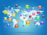 Earth map and application icons — Stock Photo