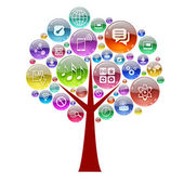 Silhouette of a tree consisting of apps icons — Stock Photo