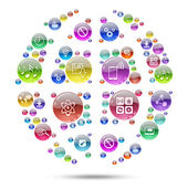 Silhouette sphere consisting of apps icons — Stockfoto