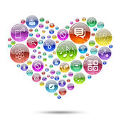Silhouette heart consisting of apps icons — Stock Photo