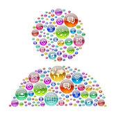 Silhueta humana consistindo de ícones de aplicativos — Fotografia Stock