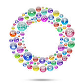 Silhouette disk consisting of apps icons — Stock Photo