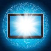 Tablet pc y esfera consiste en conexiones — Foto de Stock