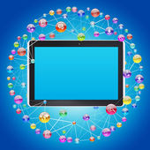 Tablet PC and application icons — Stock Photo