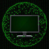 Monitor and sphere consisting of connections — Stock Photo