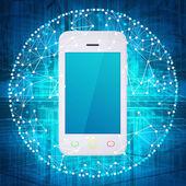 智能手机和连接组成的球体 — 图库照片