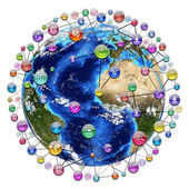 Application icons around the earth — Stock Photo