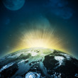 Earth planet in sun rays — Stock Photo #41398623