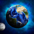 Stock Photo: Earth planet and moon