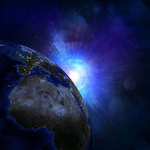 Night surface of the planet earth — Stock Photo