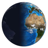 Photorealistic Earth. Day and night — Foto de Stock