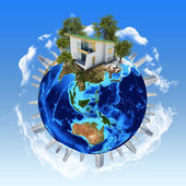 Earth planet image with buildings on surface — Stock Photo