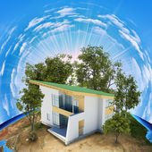 Earth planet image with house on surface — Stock Photo
