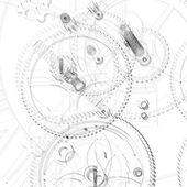 Mécanisme de l'horloge. rendu fil de fer — Photo