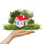 Hand holds a plate. On the plate is a small house — Foto de Stock