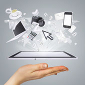 Hand holding tablet pc. Concept electronics — Stock Photo