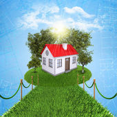 Small house with land — Foto de Stock