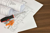 Construction drawings, screwdriver and screws — Stockfoto