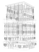 Highly detailed building. Wire-frame render — Stock Photo