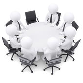 3d people at the round table. One chair is empty — Stock Photo